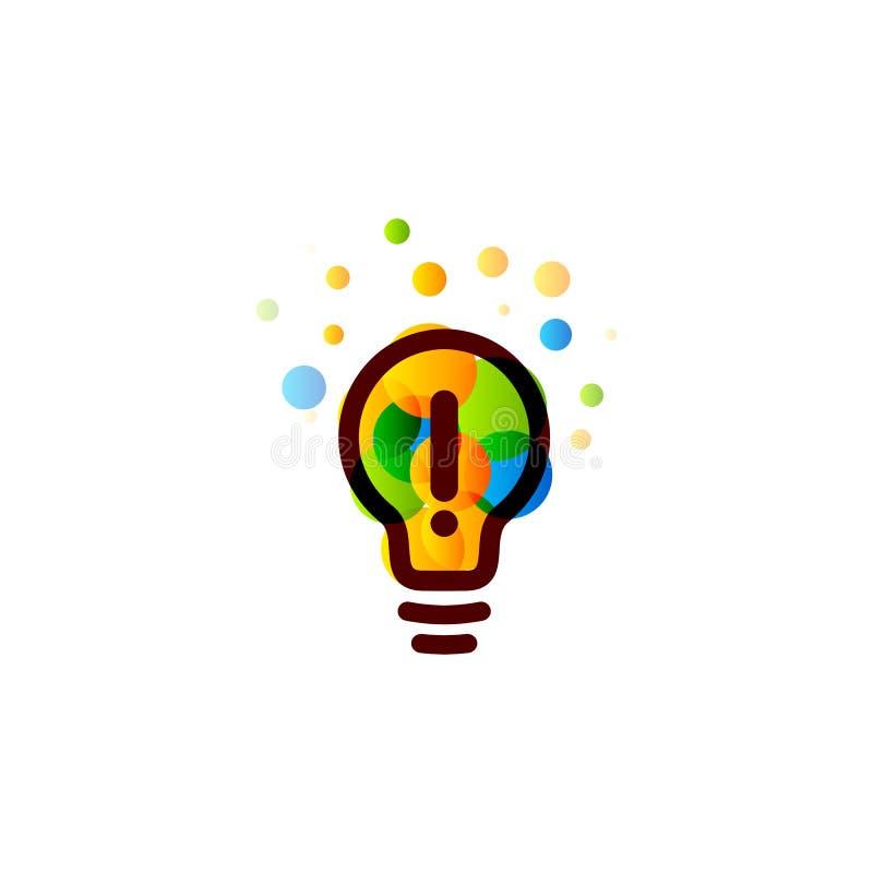 Lightbulbpictogram Creatief het ontwerpconcept van het ideeembleem Heldere kleurrijke cirkels, bellen vectorart. Oplossing voor i royalty-vrije illustratie