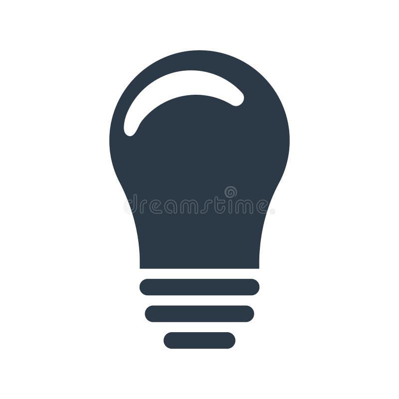 Lightbulbpictogram Ideeteken, oplossing, het denken concept Vector illustratie die op witte achtergrond wordt geïsoleerdd royalty-vrije illustratie