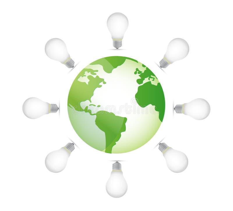 Download Lightbulbs and globe stock illustration. Image of creativity - 27643974