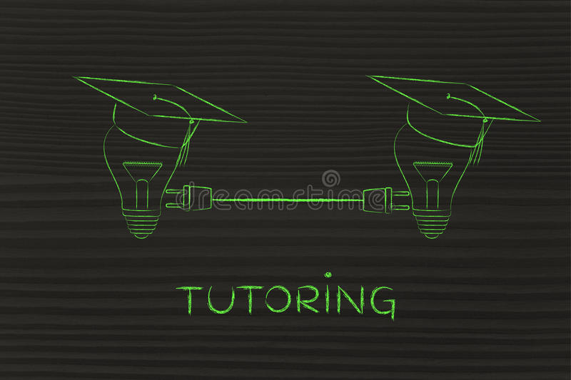 Lightbulbs with graduation cap with plug, tutoring royalty free illustration