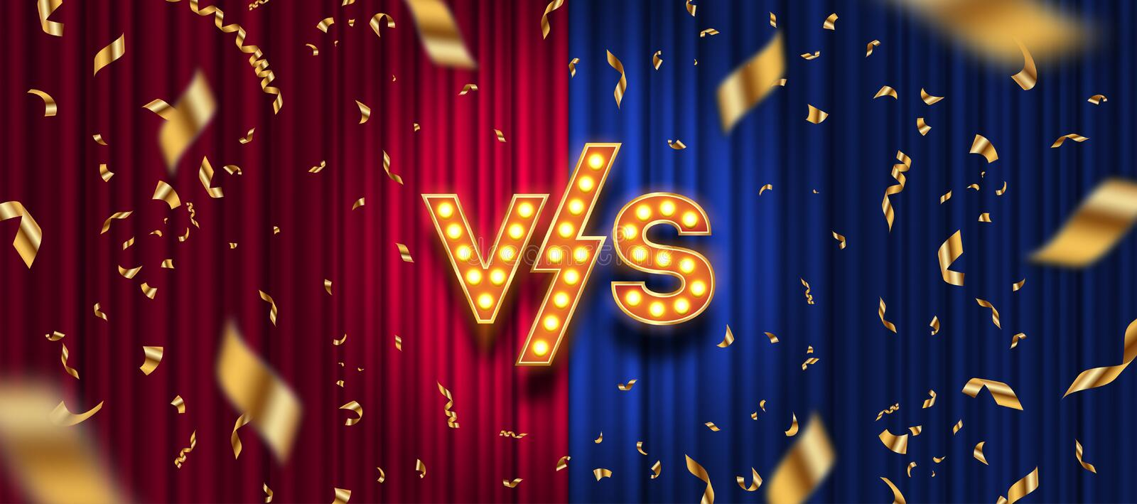 Lightbulbs letters versus logo, golden confetti on red and blue curtain background. VS logo for games, battle, performance, show, stock illustration