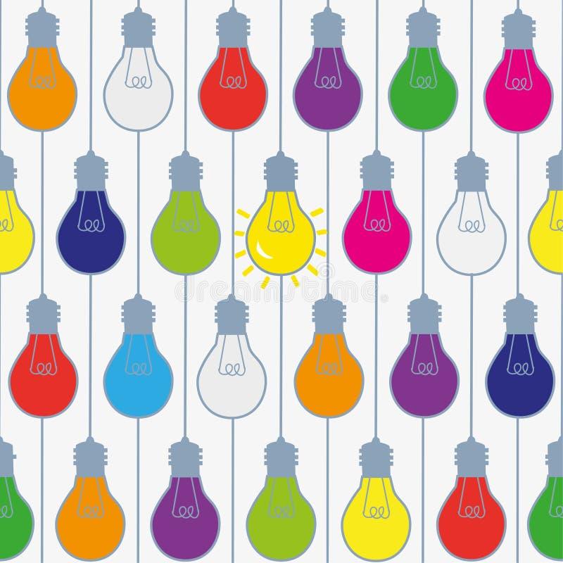 Lightbulbs seamless pattern in bright colors, funny design. stock illustration