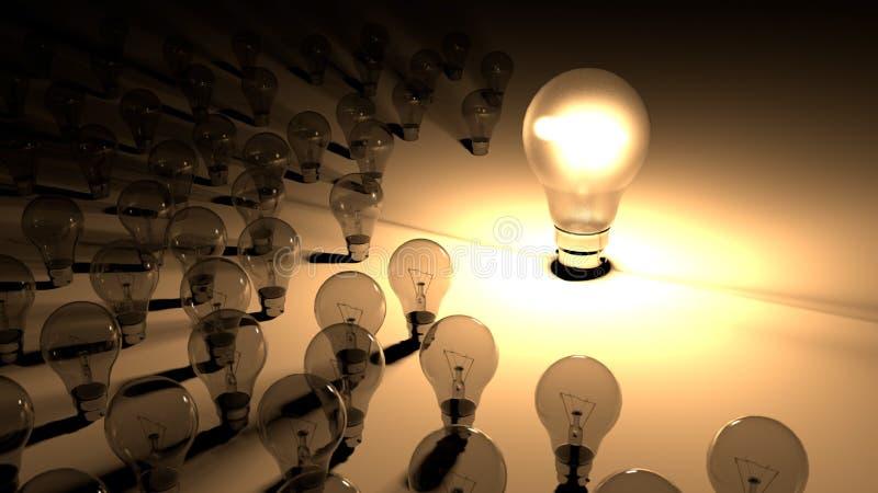 Lightbulbs som förläggas runt om den glödande ljusa kulan Den stora lighbulben glöder omgav av små lightbulbs, som är döda och sh stock illustrationer