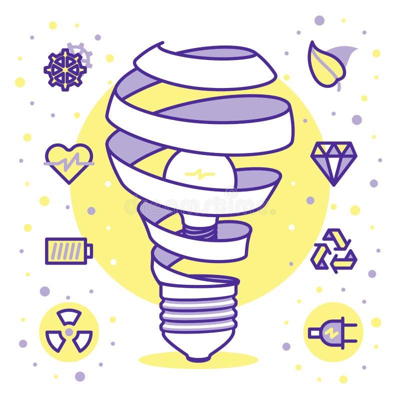 Lightbulbssymbolsuppsättning stock illustrationer