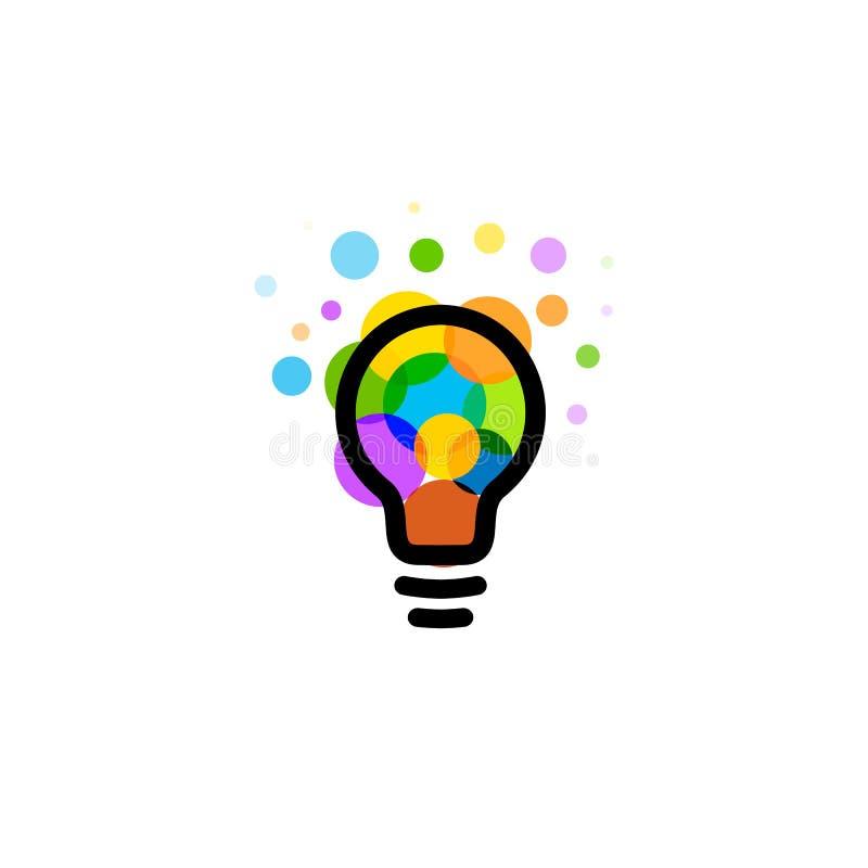 Lightbulbsymbol Idérikt begrepp för idélogodesign Ljusa färgrika cirklar, bubblavektorkonst Lösning för inspiration royaltyfri illustrationer