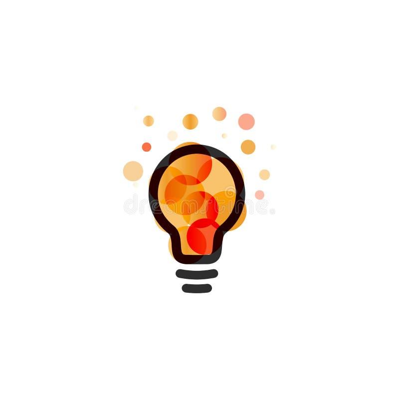 Lightbulbsymbol Idérikt begrepp för idélogodesign Ljusa färgrika cirklar, bubblavektorkonst Lösning för inspiration vektor illustrationer