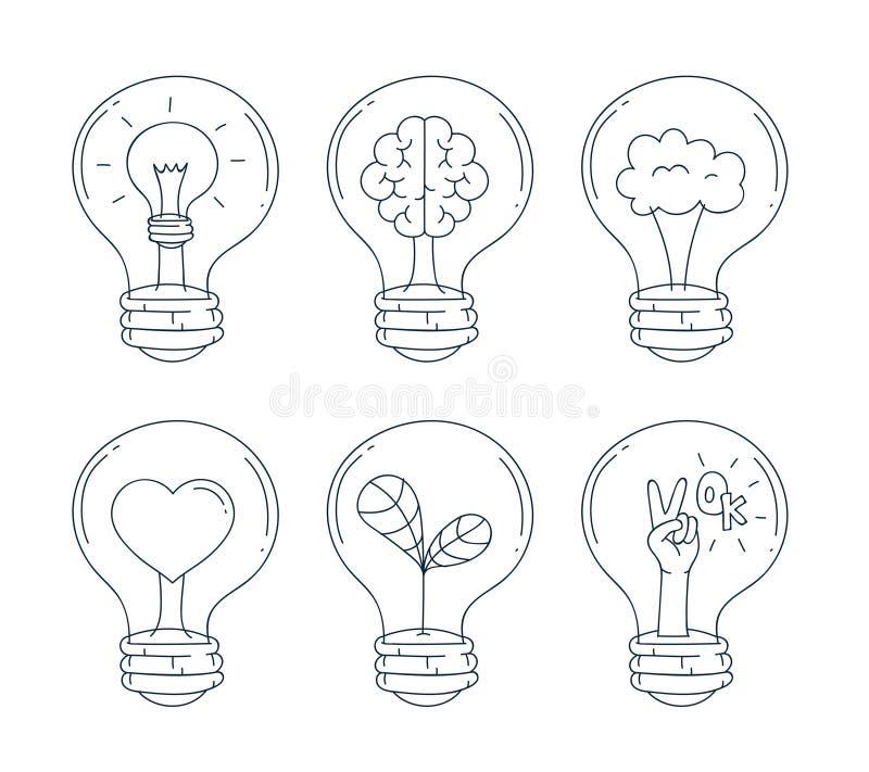 Lightbulbsymbolsuppsättning Handattraktion och klotterlinje stil också vektor för coreldrawillustration royaltyfri illustrationer