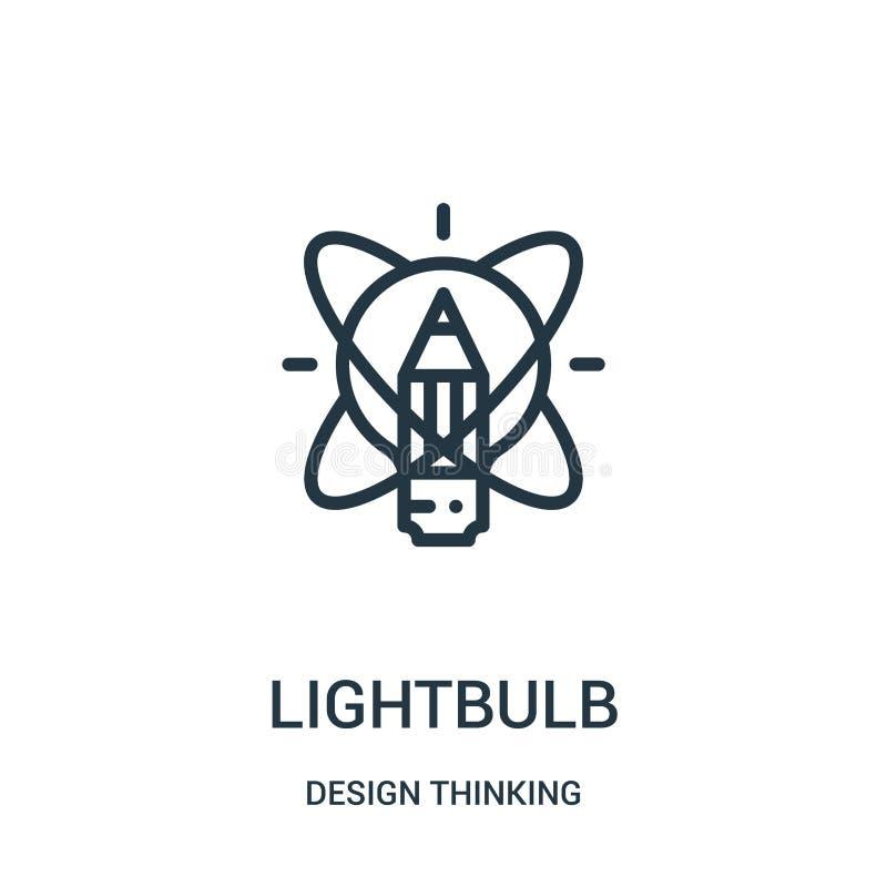 lightbulbsymbolsvektor från tänkande samling för design Tunn linje illustration f?r vektor f?r lightbulb?versiktssymbol royaltyfri illustrationer