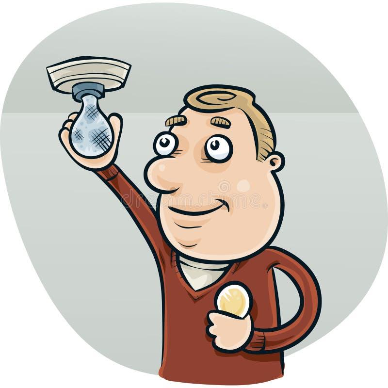 Lightbulbverandering stock illustratie