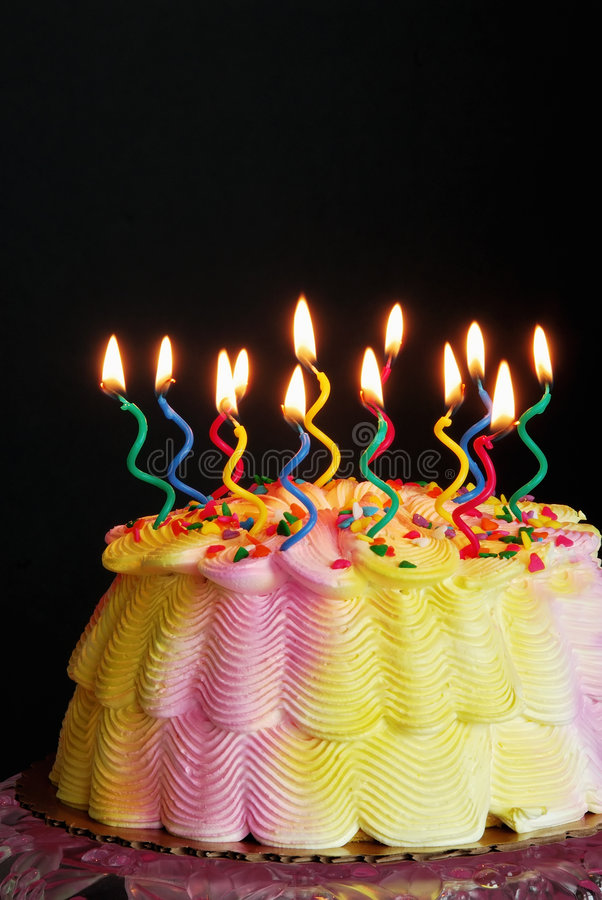 Lighted Birthday Cake stock photography
