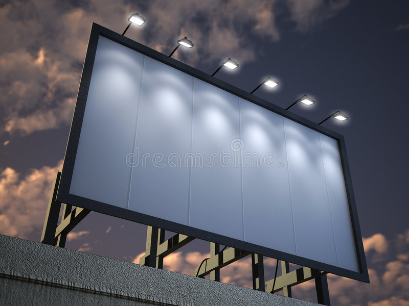 Lighted blank billboard. A lighted blank billboard against a cloudy night sky royalty free stock photos