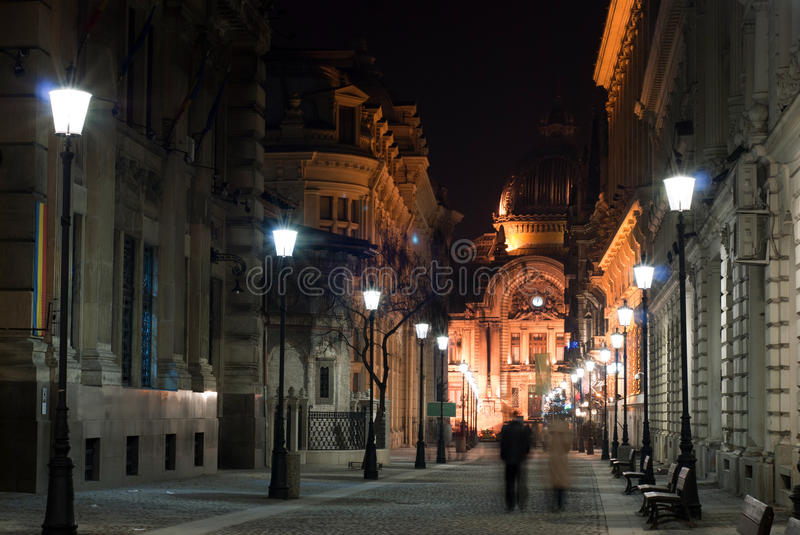Download Lighted city alley stock photo. Image of bench, bucharest - 22761960
