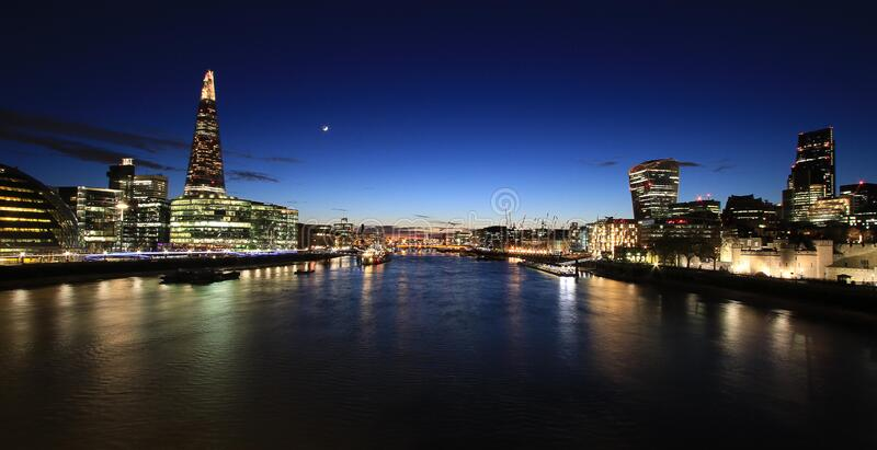 Lighted City Scape in a Panorama Photo during Nighttime royalty free stock photography
