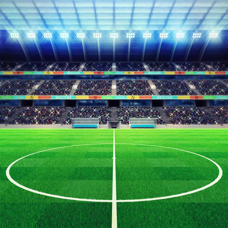 Stadium Lights Svg: Lighted Football Stadium Middle With Fans In The Stands