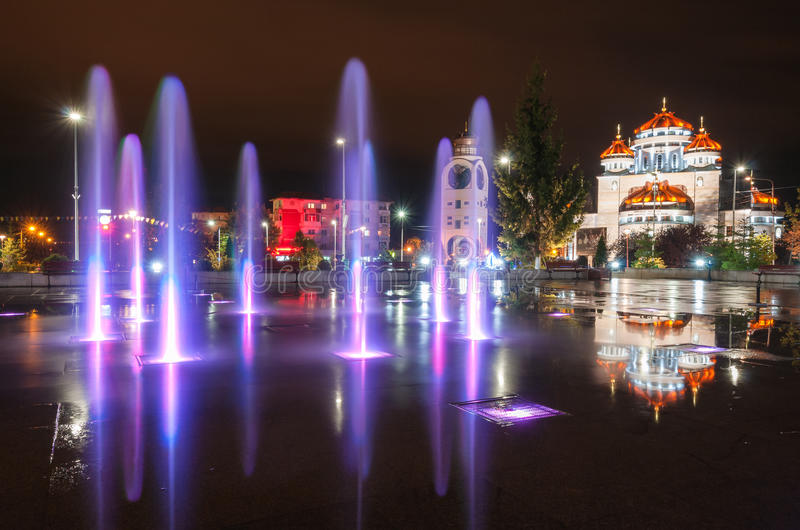 Lighted fountain in my town. Mioveni, Romania royalty free stock photos