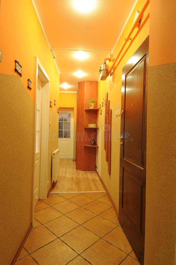 Lighted hallway in home stock image
