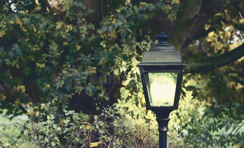 Lighted modern and classical lantern shining bright light in at night in the dark garden. A lighted modern and classical lantern shining bright light in at night royalty free stock images