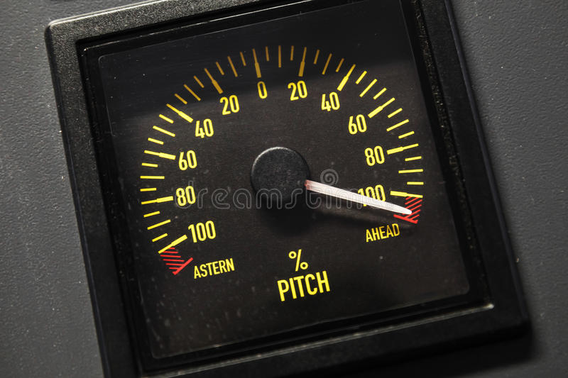 Lighted navigation pitch indicator scale. Selective focus stock photos