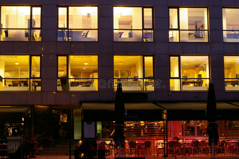 Download Lighted Offices In Aker Brygge Stock Image - Image: 3596535
