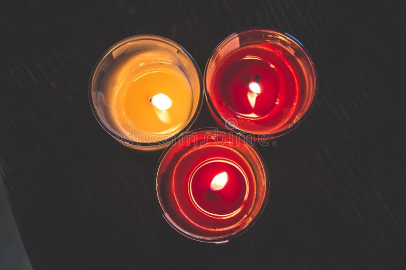 Lighted Red Wax Candle On Clear Drinking Glass Free Public Domain Cc0 Image