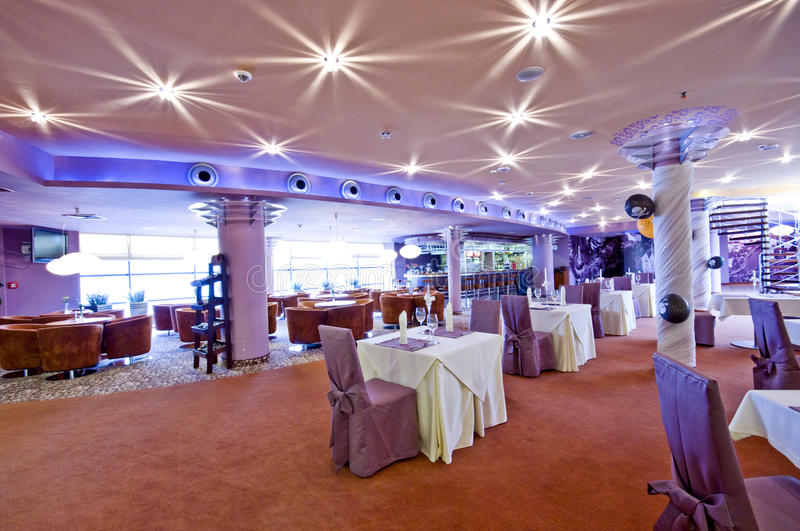 Lighted restaurant interior royalty free stock images