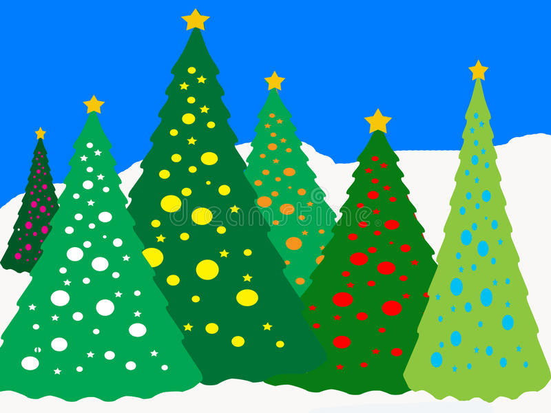 Download Lighted Trees ikn the Snow stock illustration. Illustration of lighted - 10780317