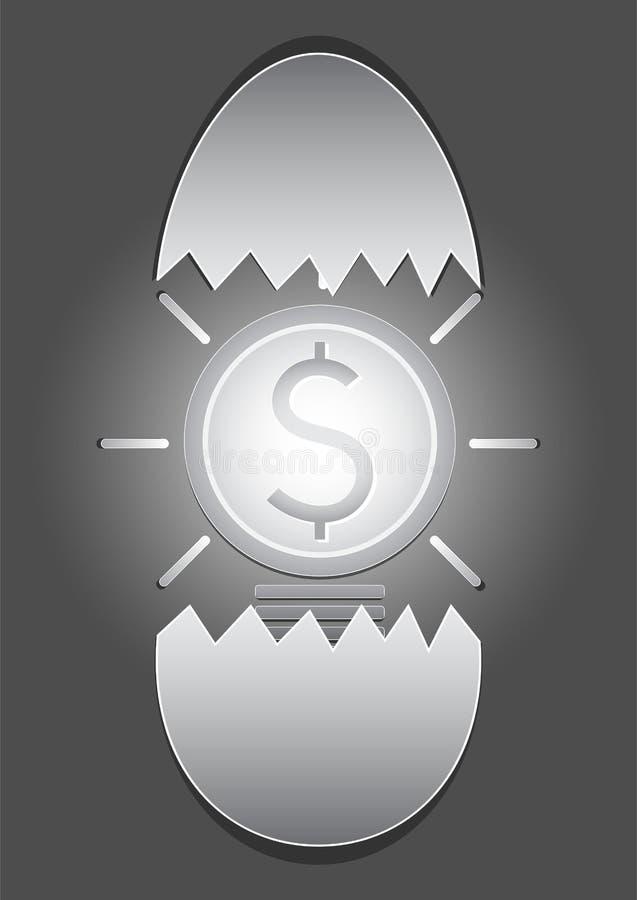 Lighten bright dollar coin light bulb in broken egg shell on grey background stock illustration