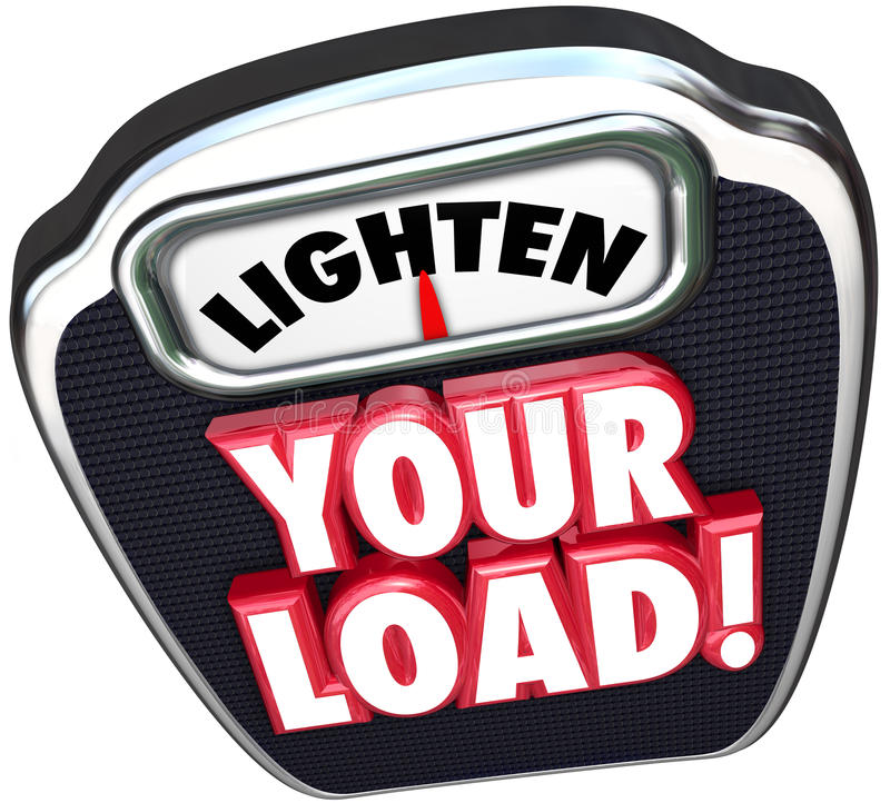 Free Lighten Your Load 3d Words Scale Reduce Workload Stock Image - 47571001