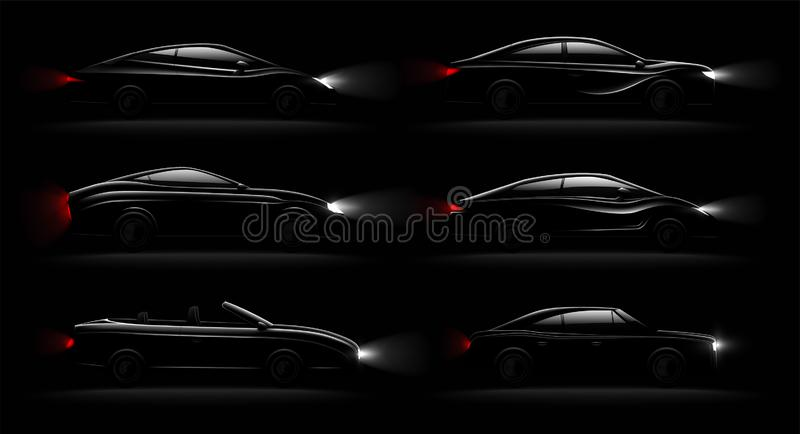 Lightened Cars Darkness Realistic Set. Lightened cars in darkness realistic 6 black luxury automobiles lamps lit set with cabriolet sedan hatchback vector vector illustration