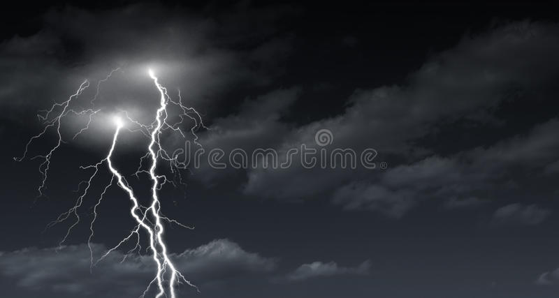 Lightening bolt. Black and white lightening bolt during a thunderstorm royalty free stock photography