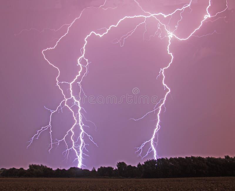 Lightening Bolt. A vivid flash of lightening in the night sky stock photography