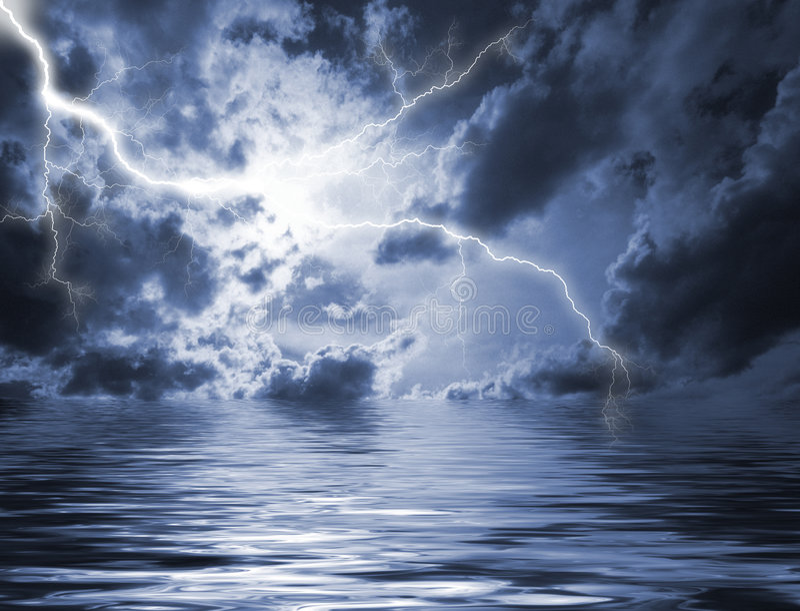 Lightening in heavy sky stock photography