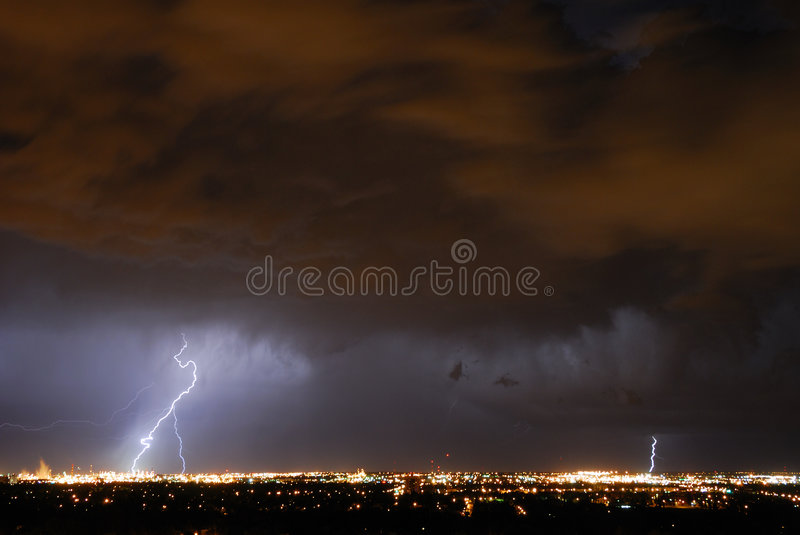 Lightening in the sky stock photos