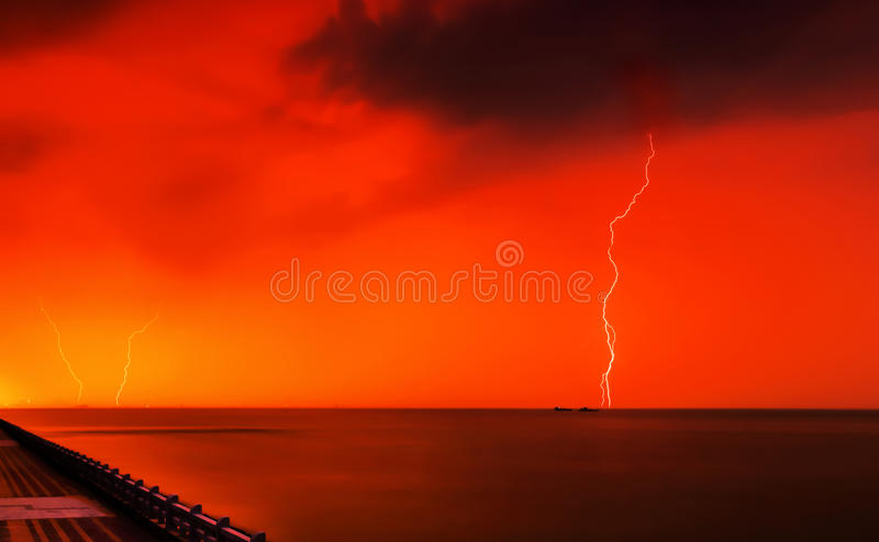 Lightening. In summer, at the time bof sun-set , climate changed, it is going to rain. before rain, lightening and thundering comes first royalty free stock photo
