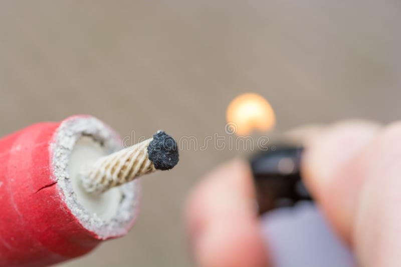 Lighting a big bang on New Year`s Eve royalty free stock photo