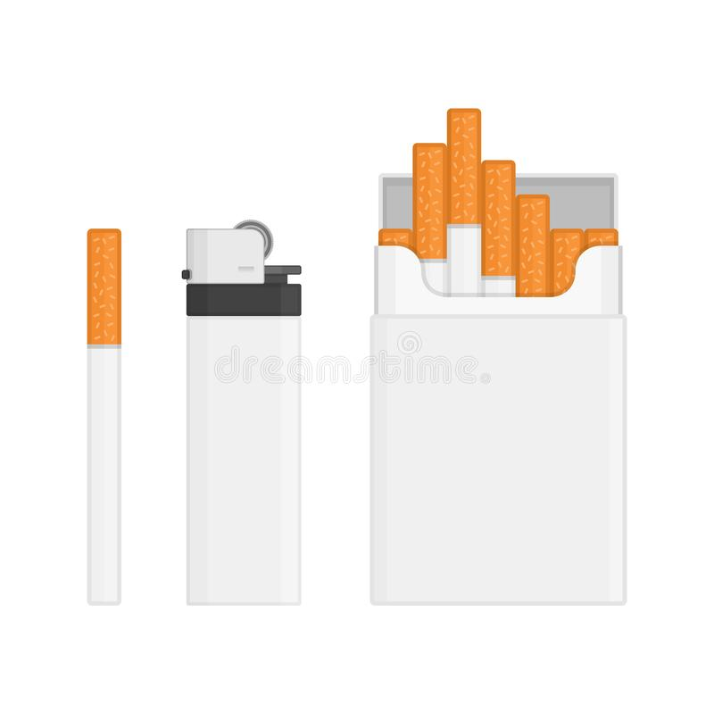 Lighter and pack of cigarettes. Blank lighter, pack of cigarettes isolated on white background. The nicotine dependence, smoking or tobacco concepts. Set for royalty free illustration