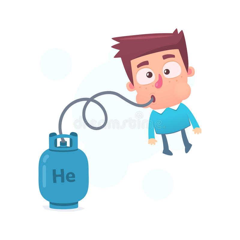 Lighter than helium. Cartoon conceptual illustration of funny character stock illustration