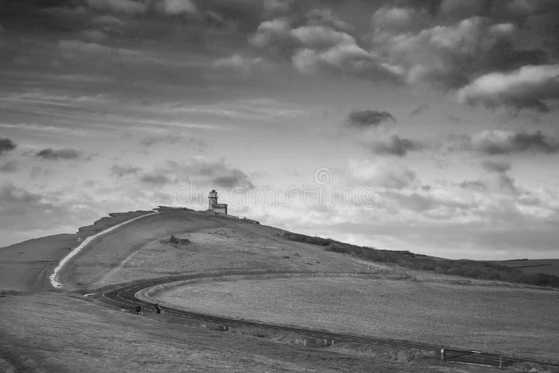lighthous佳丽兜售者的惊人的黑白风景的图象 免版税库存照片