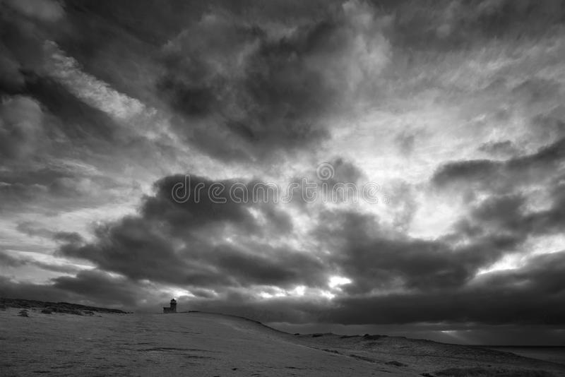 lighthous佳丽兜售者的惊人的黑白风景的图象 免版税库存图片