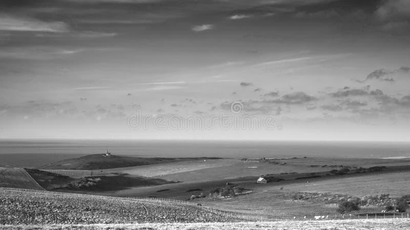 lighthous佳丽兜售者的惊人的黑白风景的图象 库存照片