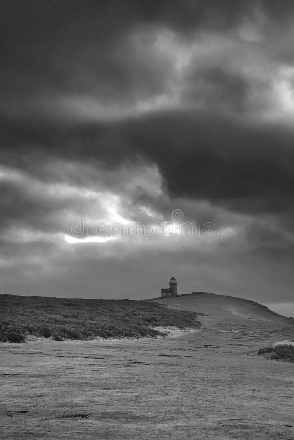 lighthous佳丽兜售者的惊人的黑白风景的图象 图库摄影