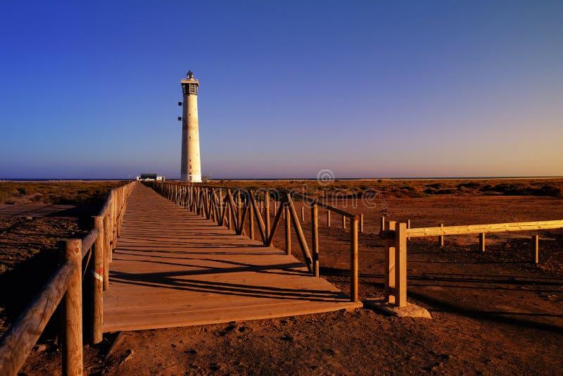 Lighthous in Morro Jable, Fuerteventura, Spagna fotografia stock