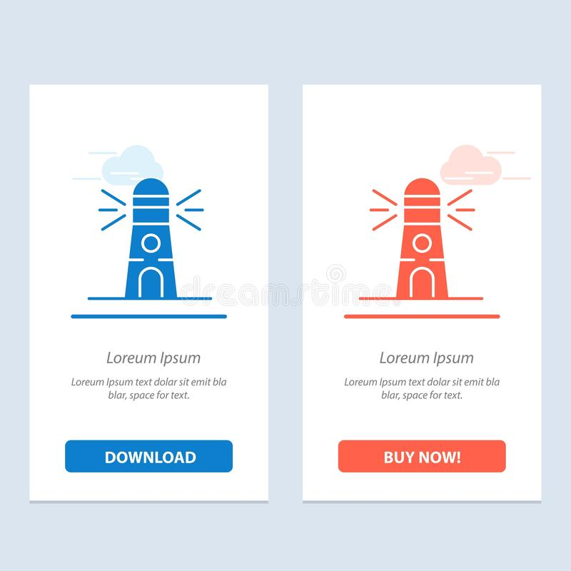 Lighthouse、Building、Navigation、House Blue和Red Download and Buy Web Widget卡模板 向量例证