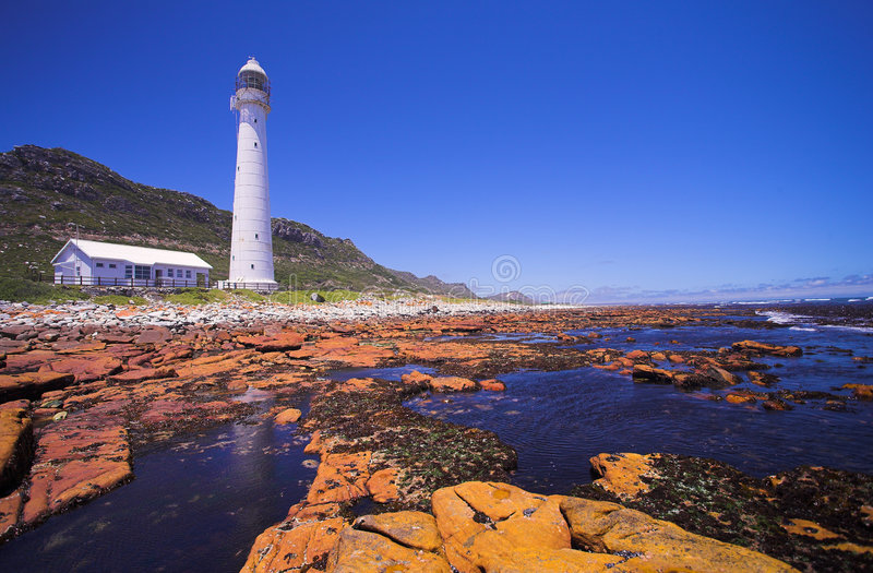 Lighthouse #1. The Slangkop Lighthouse at Kommetjie, Western Cape. The Tallest Lighthouse in South Africa stock photos