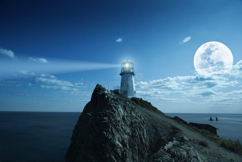Lighthouse. At nighttime. Japanese sea
