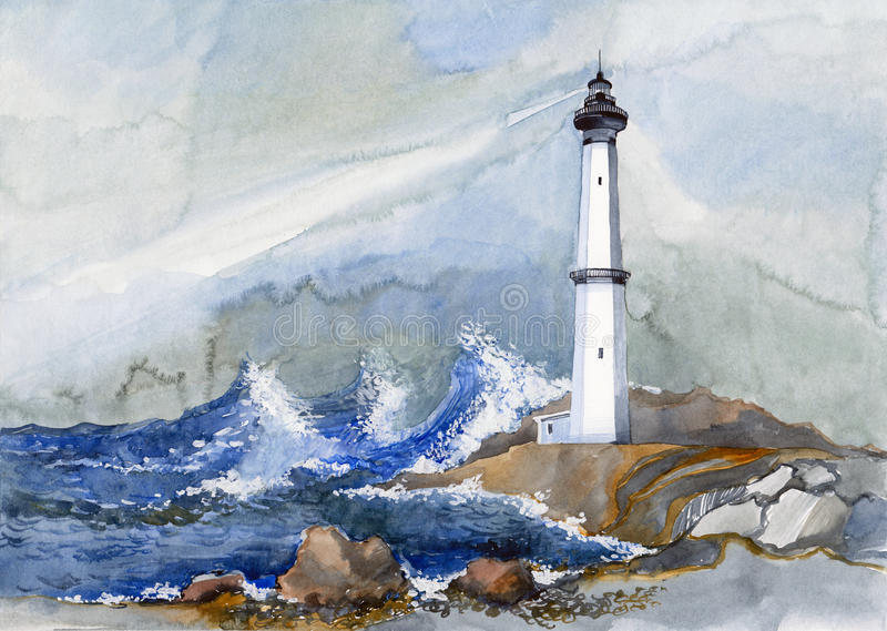 Lighthouse. Painting of lighthouse amount the sea