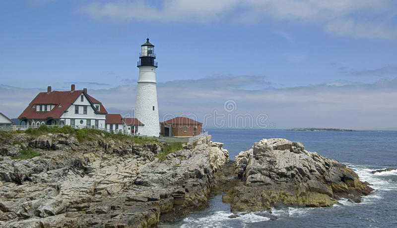 The Lighthouse. At Cape Elizabeth, Maine, Usa royalty free stock image