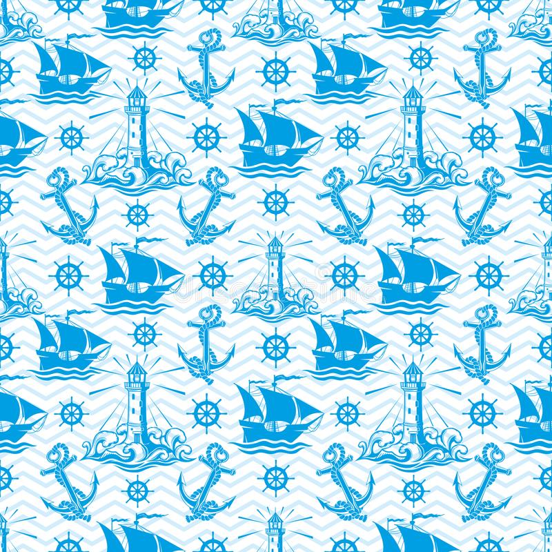 Seamless pattern with lighthouse ships and anchors. Seamless pattern with lighthouse ships and anchors on a blue background stock illustration