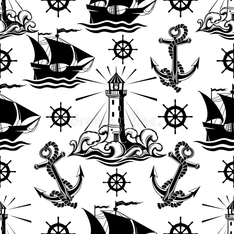 Seamless pattern with lighthouse ships and anchors. Seamless pattern with lighthouse ships and anchors on a white background vector illustration