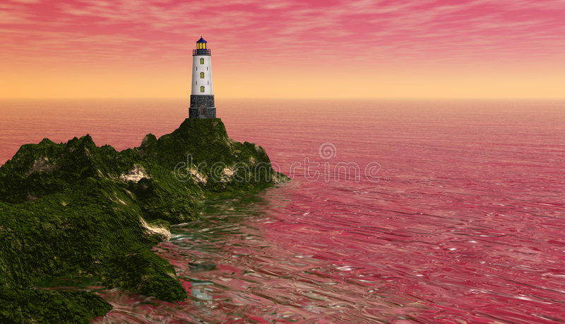 Lighthouse. Computer generated 3d image vector illustration